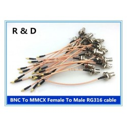 DWM-BNC-MMCX BNC female to MMCX male 50ohm RG316 extension jumper cable