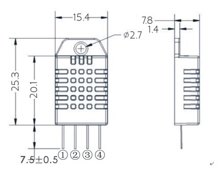 DHT22-AM2302-Digital-Temperature-And-Humidity-Sensor-Dimensions