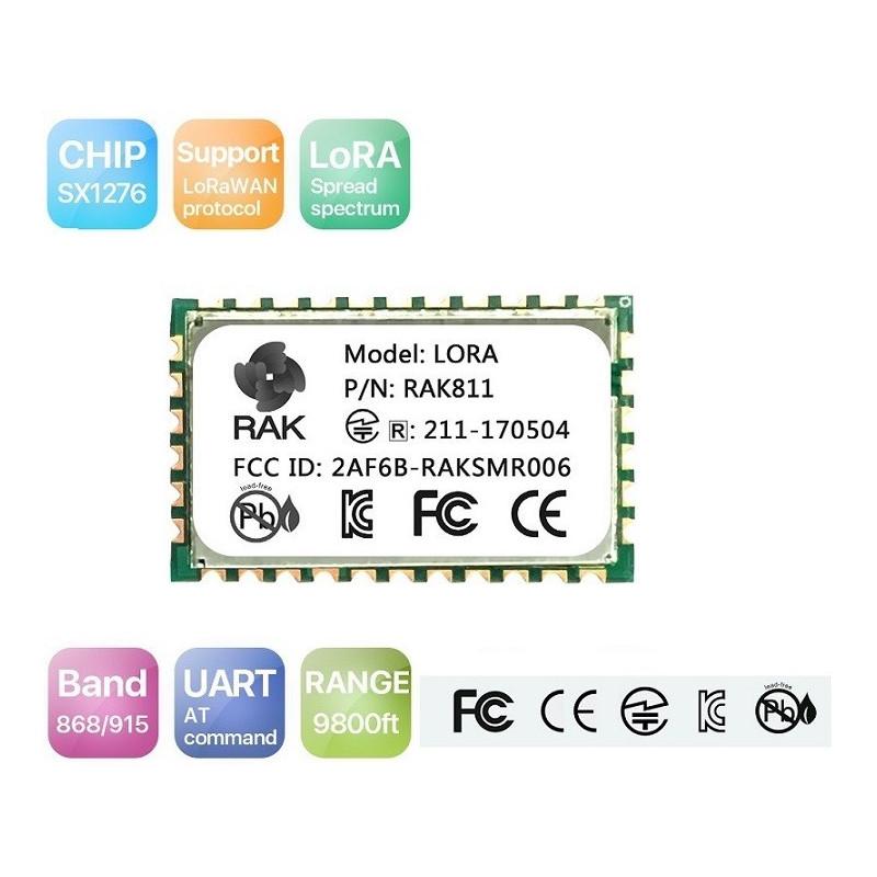 RAK811 868MHz/ 915MHz LoRa module integrates SX1276 and stm32L with TELEC  CE FCC KCC certification