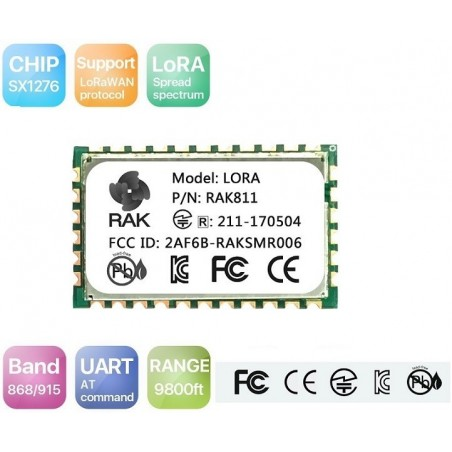 RAK811 LoRa module integrates SX1276 and stm32L with TELEC CE FCC KCC certification