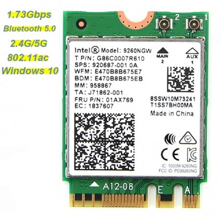 Intel 9260AC 2.4G/5Ghz Wi-fi Bluetooth 5.0 moule for Laptop Windows 10