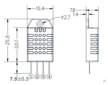 DHT22-AM2302-Digital-Temperature-And-Humidity-Sensor-Dimensions